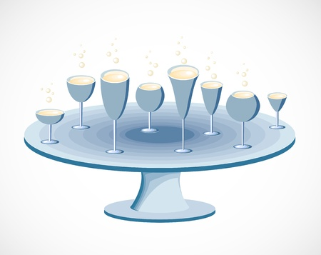 Set of glasses on a table Stock Vector - 13142723