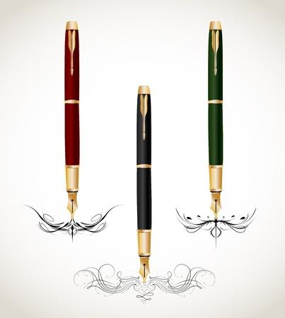 penmanship: Calligraphy penmanship decorative with fountain pens  Vector Illustration