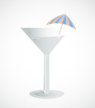 Glass with an umbrella and drink  Vector
