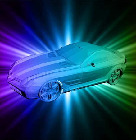 wheal: Neon background with car