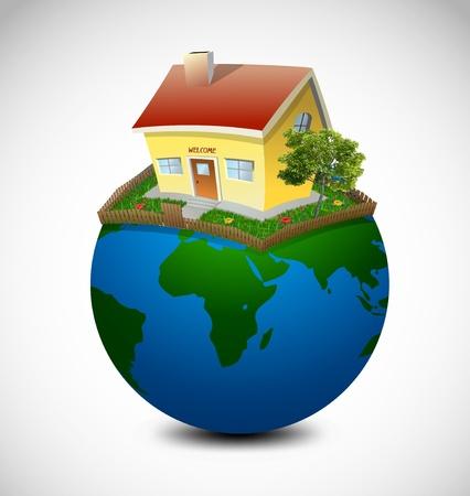 Planeta Ilustración Vector casa y el jardín