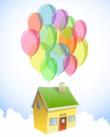 home moving: Casa con un mont�n de globos de colores Vector