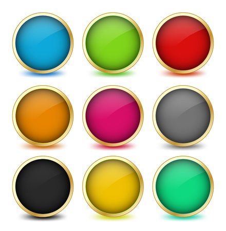 Set of web buttons with golden frames  Vector Vector