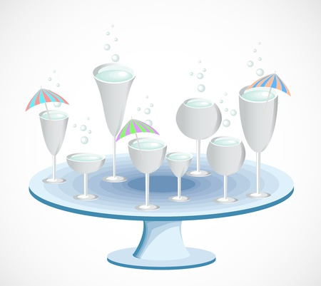 Set of glasses on a table  Vector Vector