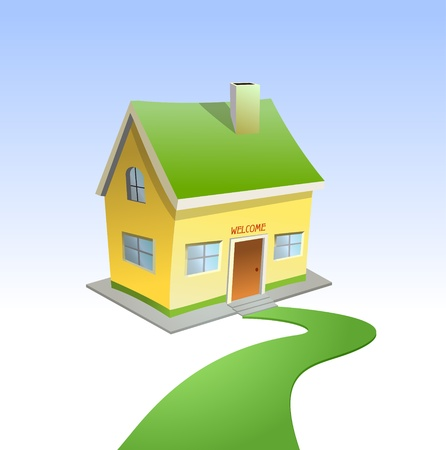Green road to house  Vector Vector