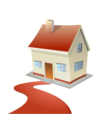 Vector illustration of house with red carpet road Vector