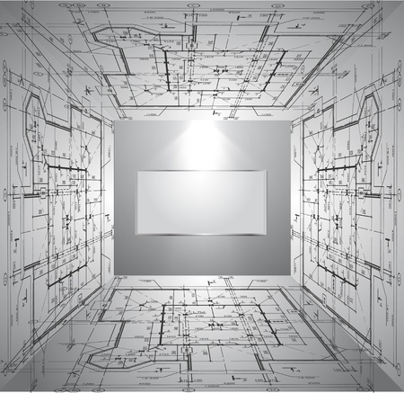 Wall with wallpaper blueprint and light  Vector