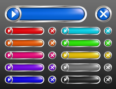 Set glossy buttons  Vector Vector
