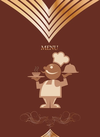 Restaurant menu design with chief  Vector Vector