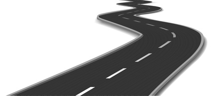winding road: Curved road  Vector Illustration