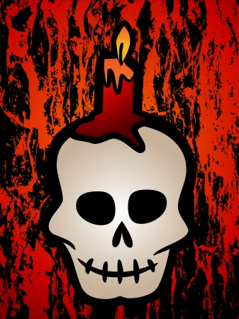Skull and candle grunge illustration Stock Vector - 14086775