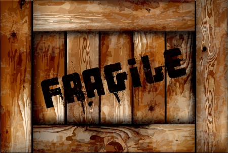 Fragile wooden box background  Stock Vector - 14086819