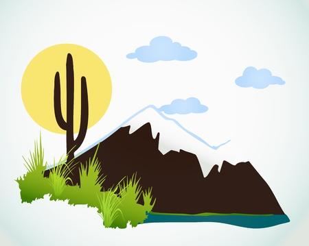 arizona sunset: Cactus saguaro And Mountains