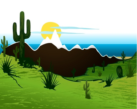 Cactus saguaro, mountains and river Vector
