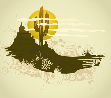 yellow adventure: Cactus saguaro grunge background Illustration