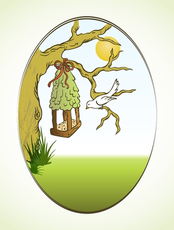 Bird and tree hous  Vector
