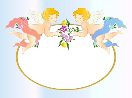 Two angels with flower  Vector card Vector