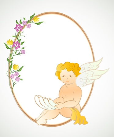 Angel with flowers and oval frame  Vector Illustration