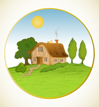 Vector house background with trees Vector