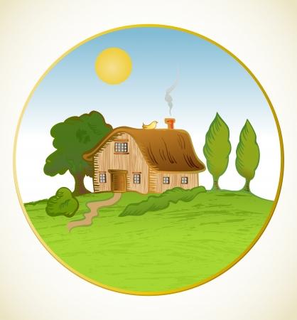 installateur: Vector huis achtergrond met bomen Stock Illustratie