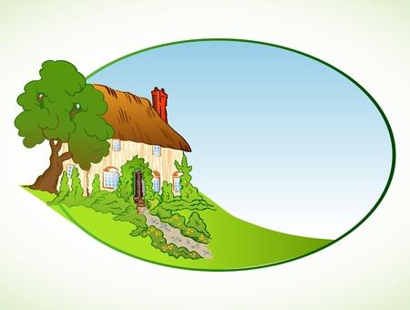 installateur: Huis met planten Vector achtergrond Stock Illustratie