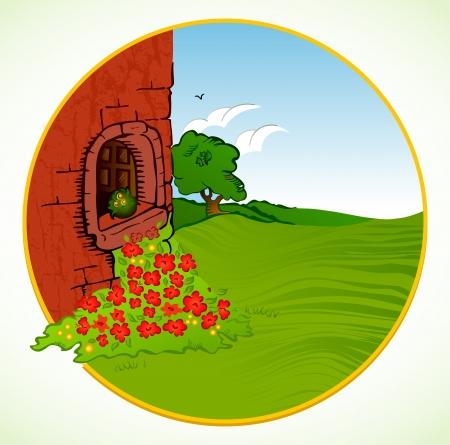 installateur: Huis met boom, bloem Vector achtergrond
