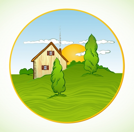 House with trees  Vector illustration Vector