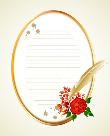 Paper, feather and rose  Vector background