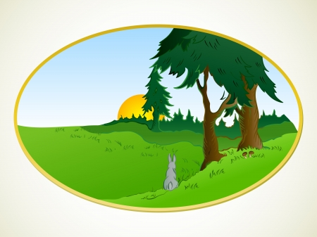rabbit hole: Hares in the wonderland  Vector background
