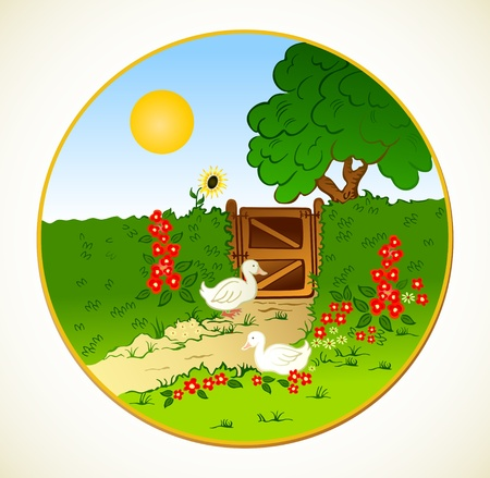 Rural fence, flowers and farm geese   Vector background Vector