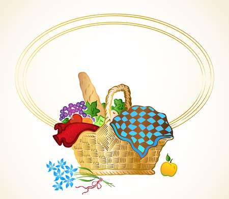 Bunch of food in the basket background Vector