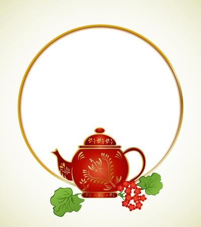 tazza di te: Teiera carino con disegno floreale Vettoriali