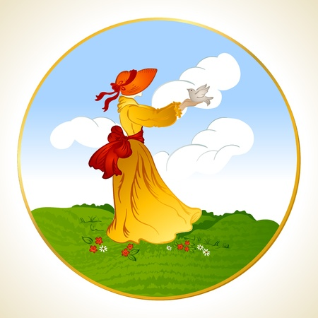 Woman in a hat with a bird in the hand background Vector