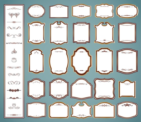 Labels frames and calligraphic elements  set Vector