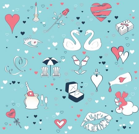 Seamless background with the theme of love  Cartoon vector set Vector