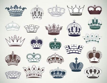 corona de rey: Conjunto de ilustraci�n vectorial coronas