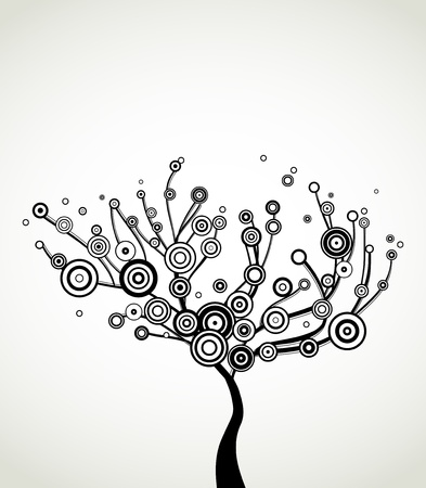 circle of life: Tree with round leaves  Vector background Illustration