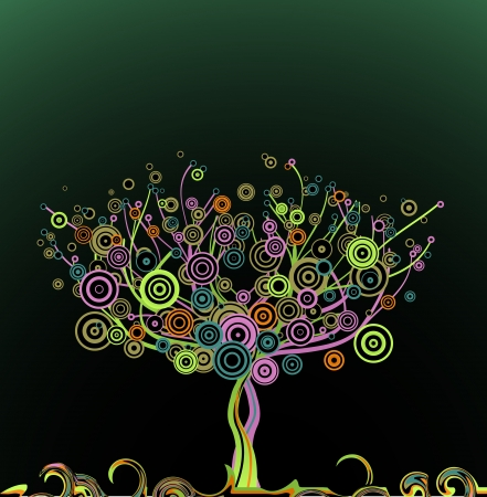 Abstract tree with circle colorful leaves   Vector