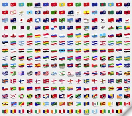 Grote set golvende vlaggen