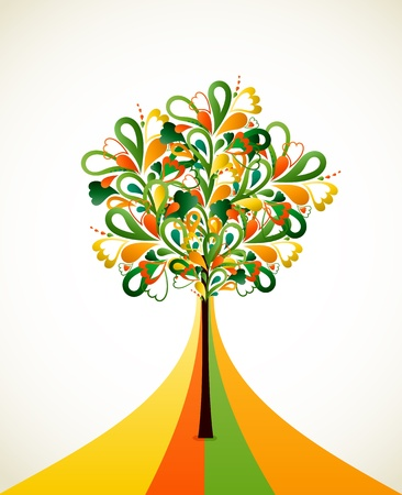 Painting abstract tree on colorful strips