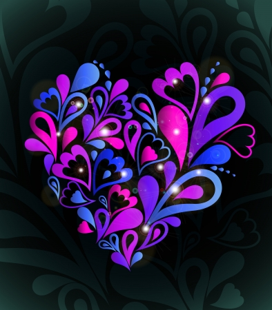 psychedelic background: Abstract heart colorful   Illustration