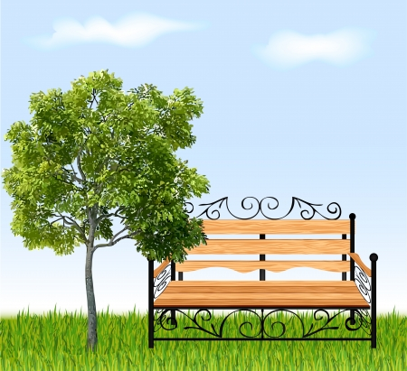 Bench with tree and grass   Illustration