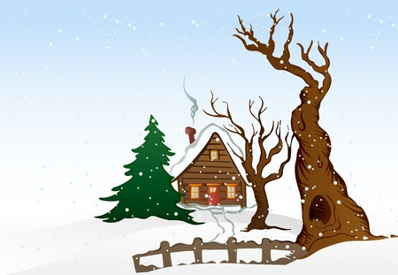 Cartoon winter house illustration