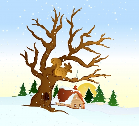 winter scene: Village winter landscape illustration Illustration
