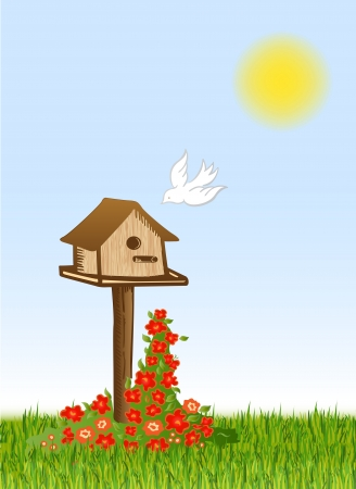 Bird and starling house  Vector Vector