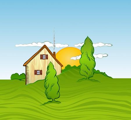 installateur: Huis met bomen illustratie