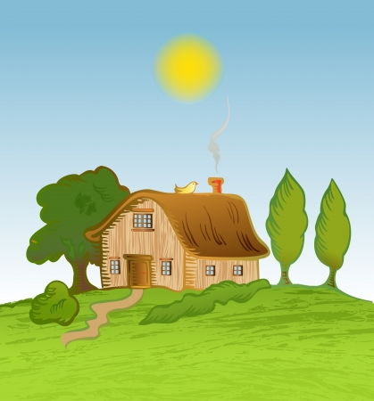 house background with trees Illustration