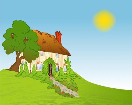 installateur: Huis met planten achtergrond