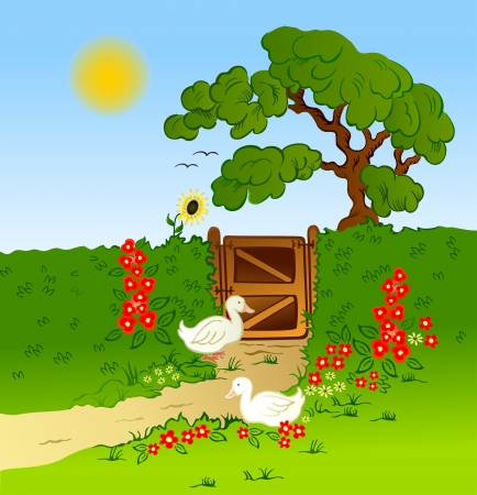 Rural fence, flowers and farm geese background Illustration