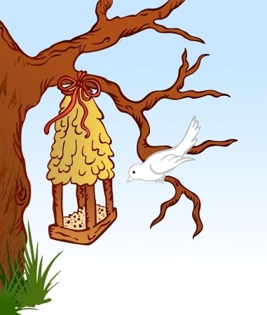 house fly: Bird and tree hous  Illustration